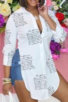 White Casual Print Split Joint Slit Turndown Collar Tops