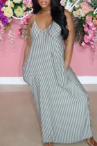 Black Casual Striped Print Split Joint U Neck Straight Dresses