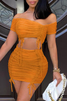 Orange Fashion Sexy Solid See-through Backless Off the Shoulder Sleeveless Two Pieces