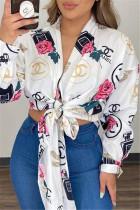 White Pink Fashion Casual Print Bandage V Neck Tops