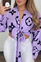 Purple Fashion Casual Print Bandage V Neck Tops