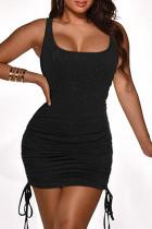 Black Sexy Casual Solid Fold Strap Design U Neck Vest Dress
