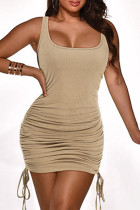 Apricot Sexy Casual Solid Fold Strap Design U Neck Vest Dress