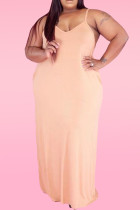 Apricot Sexy Casual Plus Size Solid Backless Spaghetti Strap Sleeveless Dress