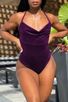 Purple Fashion Sexy Solid Backless Swimwears