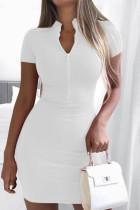 White Fashion Casual Solid Basic Zipper Collar Short Sleeve Dress