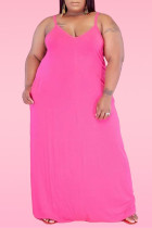 Pink Sexy Casual Plus Size Solid Backless Spaghetti Strap Sleeveless Dress