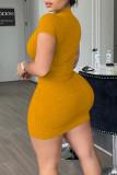 Grey Casual Solid Split Joint Mandarin Collar Pencil Skirt Dresses
