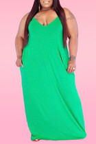 Green Sexy Casual Plus Size Solid Backless Spaghetti Strap Sleeveless Dress