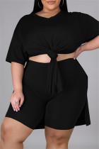 Black Fashion Casual Solid Slit V Neck Tops Plus Size Two-piece Set