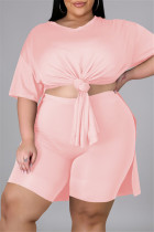 Pink Fashion Casual Solid Slit V Neck Tops Plus Size Two-piece Set