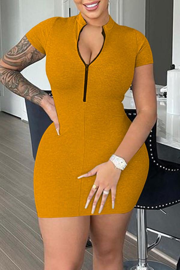 Orange Yellow Casual Solid Split Joint Mandarin Collar Pencil Skirt Dresses