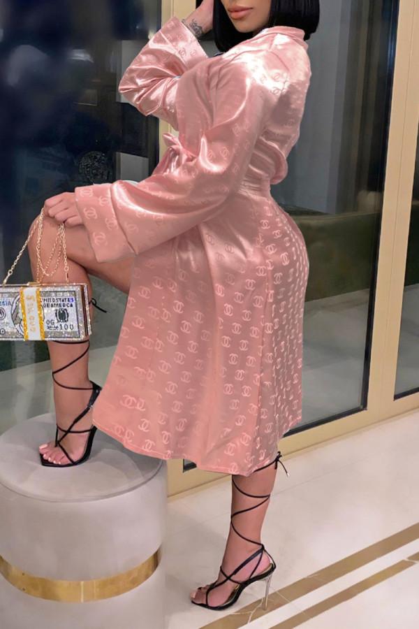 Pink Fashion Sexy Print Nightdress
