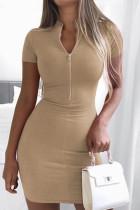 Khaki Fashion Casual Solid Basic Zipper Collar Short Sleeve Dress