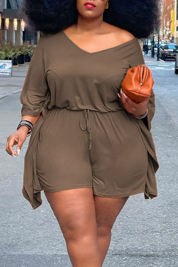 Brown Casual Solid Split Joint V Neck Plus Size Two Pieces