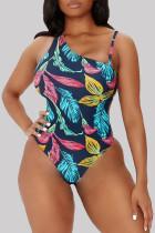 Blue Fashion Sexy Print Backless Swimwears