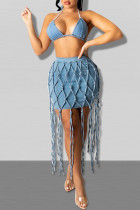 Blue Fashion Sexy Solid Tassel Backless Halter Sleeveless Two Pieces