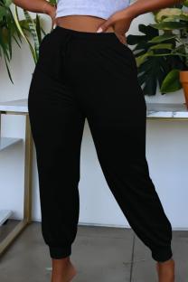 Black Casual Solid Split Joint Plus Size