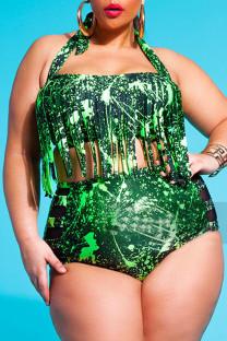 Green Sexy Print Tassel Split Joint Halter Plus Size Swimwear