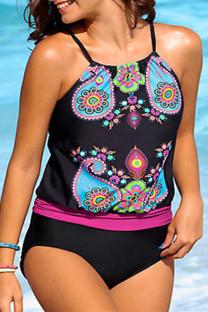 Black Fashion Sexy Print Backless Spaghetti Strap Plus Size Swimwear