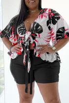 Black Fashion Casual Print Basic V Neck Plus Size Two Pieces