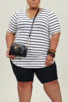 White Casual Striped Print Split Joint V Neck Plus Size Two Pieces