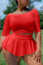 Red Casual Solid Split Joint O Neck A Line Plus Size Two Pieces