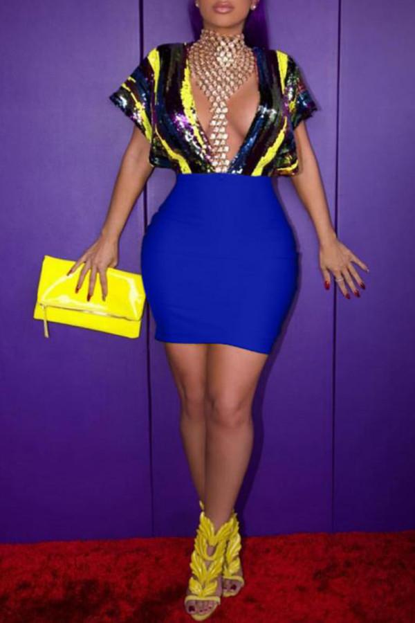 Royal blue Fashion Sexy Cap Sleeve Short Sleeves V Neck Sheath Mini Sequin PU diamonds asymmetrical h