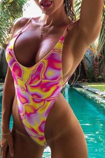 Pink Sexy Patchwork Tie-dye Swimwears