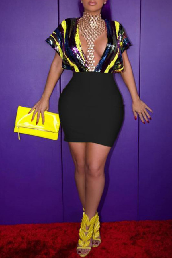 Black Fashion Sexy Cap Sleeve Short Sleeves V Neck Sheath Mini Sequin PU diamonds asymmetrical h