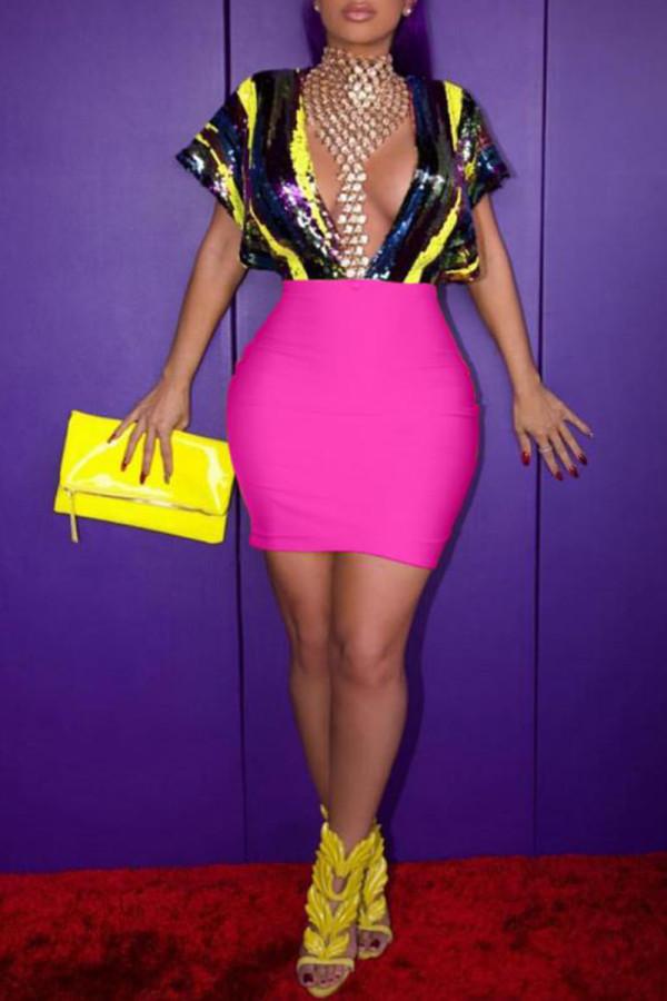 Pink Fashion Sexy Cap Sleeve Short Sleeves V Neck Sheath Mini Sequin PU diamonds asymmetrical h