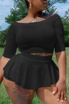 Black Casual Solid Split Joint O Neck A Line Plus Size Two Pieces