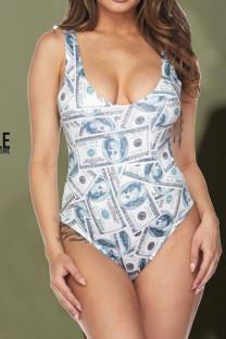 White Sexy Print Split Joint Swimwears