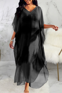Black Casual Solid Mesh V Neck Straight Dresses