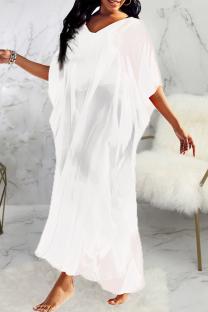 White Casual Solid Mesh V Neck Straight Dresses