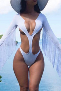 White Fashion Sexy Solid Tassel Hollowed Out Swimwears