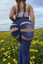 Deep Blue Fashion Sexy Solid Ripped Hollowed Out Plus Size Jeans