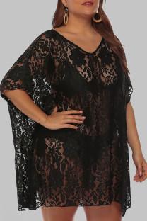 Black Sexy Solid See-through V Neck Plus Size Swimwear Beach Dress Blouse