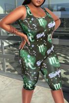 Green Casual Print Split Joint U Neck Skinny Jumpsuits