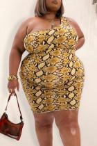 Gold Sexy Print Split Joint Zipper Collar Pencil Skirt Plus Size Dresses