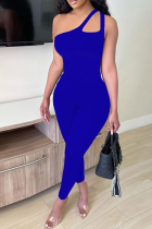 Blue Sexy Solid Split Joint One Shoulder Skinny Jumpsuits