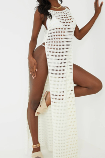 White Sexy Patchwork Solid Mesh Swimwears Cover Up