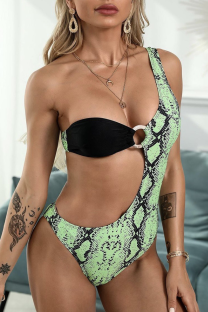 Green Sexy Print Hollowed Out Split Joint Swimwears