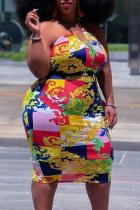 Colour Sexy Print Split Joint Strapless Pencil Skirt Plus Size Dresses