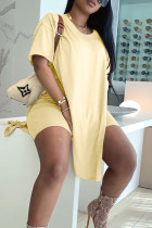 Light Yellow Street Solid Split Joint Slit O Neck Short Sleeve Two Pieces