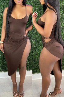 Dark Brown Fashion Sexy Solid Backless Swimwears