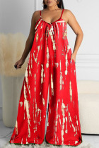 Red Sexy Casual Print Backless Spaghetti Strap Loose Jumpsuits
