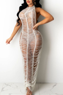 White Sexy Solid Hollowed Out Split Joint See-through Swimwears Cover Up