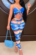 Royal Blue Sexy Print Hollowed Out Split Joint Frenulum Spaghetti Strap Skinny Jumpsuits
