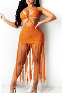 Tangerine Sexy Solid Tassel Hollowed Out Split Joint Backless Swimwears Cover Up
